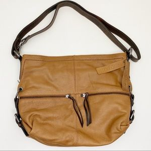 NINO BOSSI Two-Tone Leather Shoulder Hobo Bag
